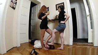 two mistress uses lesbian feet slave