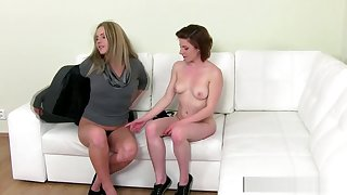 Innocent casting teen fucked with a strapon