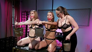 Ella Big draw and Christy Love a torch for lesbian threesome with a handful of more girl