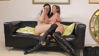 Two hot milfs shows off their pussies