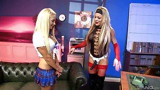 Lickerish lesbian Lallapalooza Martinez uses a strapon to please her phase