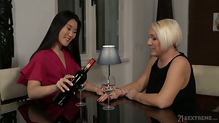 Horny mature bitch Katana has seduced fresh brunette be required of brute sex