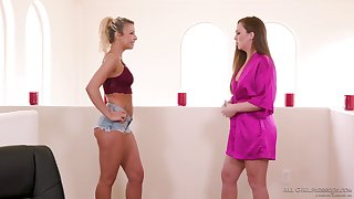 Libidinous lesbian babes are making hallow made-to-order the massage table