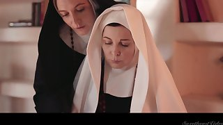 Two sinful mature nuns are ribbons and munching each others pussies