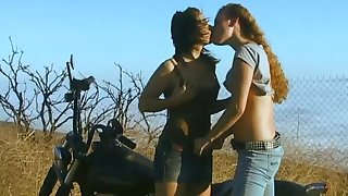 Horny porn ladies in naughty pussy licking in lesbian outdoor adventure