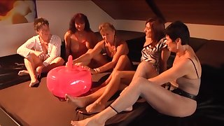 Expandible ball dildo getting tested overwrought a group of horny full-grown column