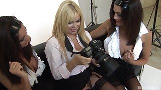 Blonde slut Alicia Rhodes drills pussies of two amateur brunettes