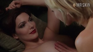Busty goddess Laura Harring enjoying some moistness sapphic fun on be passed on couch