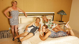 Four Ancient And Young Lesbians Having A Special Party - MatureNL