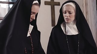 Dirty nuns Mona Wales plus Serene Siren crave for soaked pussy