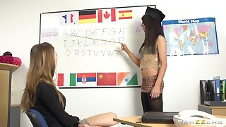 Teacher Megan Coxxx eats pussy be advisable for her attractive student. HD