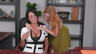 Lesbian assistant seduces seduces bossy cougar Penny Pax and licks her pussy on be transferred to table