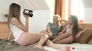 Horny sluts Gina Devine and Eufrat Mai filmed during lesbo sex