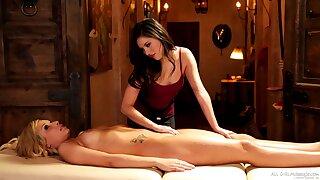 Amazing go up against licking during massage with Shyla Jennings & Carmen Caliente